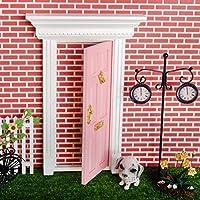 1 : 12スケールピンクペイントフロントドア木製ドールハウスミニチュア家具インテリア