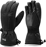 PHZ. Ski Gloves Waterproof Breathable Touch Screen Snowboard Gloves, 3M Thinsulate Warm Winter Snow Gloves for Men & Women