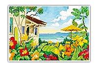 良い生活 - トロピカルビーチハウス - ハワイ - ハワイ諸島 - オリジナルの水彩画からのもの によって作成された ロビン アルトマン - アートポスター - 33cm x 48cm