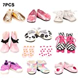 Barwa 5 PCS Shoes + 2 PCS Socks for 16 - 18 Inch American Girl Dolls and Other Dolls Xmas Gift