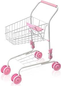 RiZKiZ ままごと ショッピングカート 子供用 【ピンク】 折りたたみシート付 4輪キャスター お買い物カート