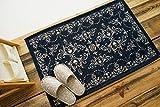 洗える! 綿混 玄関マット 屋内 用 シック モダン アーチ・デコ ゴブラン 織り 滑り止め 付き ネイビー 約 60×90 cm