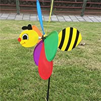 Jesse Flower Wind Spinner 3D Bee Colourful Funny Windmill for Yard Garden
