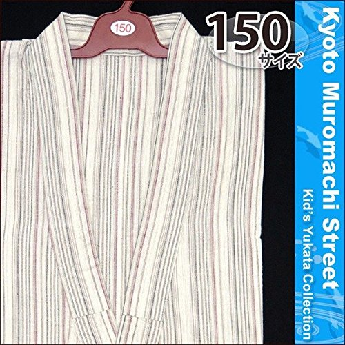 浴衣 150 男の子用 綿麻 しじら織のゆかた「生成り」ABY15-309