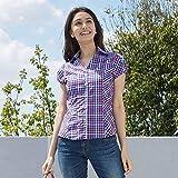 ナラカミーチェ(NARACAMICIE) カラーギンガムチェックフレンチスリーブシャツ