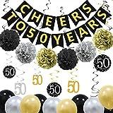 ZukoCert 50歳の誕生日用デコレーションキット ゴールドグリッターチアーから50年のバナー ペーパーポン6個 バルーン20個 スパークリングハンギングスワール12個 50周年記念デコレーションパーティー用品