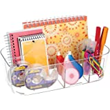 mDesign Plastic Office Storage Organizer Caddy Tote with Handle for Cabinet, Countertop, Desk, Workspace - Holds Erasable Pen