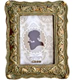 CISOO Vintage Picture Frame 2.5x3.5 Antique Photo Frame Table Top Display and Wall Hanging Home Decor Art Deco Bronze With Gr