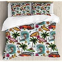 Ocean 4ピース寝具セットツインサイズ、ハワイアンサーファーon Wavy Deep SeaレトロスタイルPalm Trees Flowersサーフボードプリント、布団カバーセットキルトベッドスプレッド子供/キッズ/ティーン/大人 Twin/Small Cloud Dream