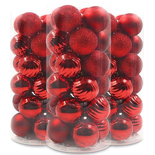 Valery Madelyn 定番 クリスマス オーナメント ボール 24個入り デコレーション レッド 華やか クリスマス ツリー 飾り 雑貨 装飾 6cm
