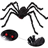 AOJOYS Halloween Scary Giant Spider 6.6 Ft. 200cm Fake Large Hairy Spider Props Outdoor Decor & Yard Decorations