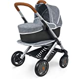Smoby Bébé Confort 253105 3-in-1 Stroller and Pram for Dolls and Dolls - Silent and Multidirectional Wheels - Grey