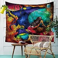 タペストリー、シーツ毛布吊り布人魚のイラストタペストリー布壁掛けプリントタオル家の壁の装飾ベッドルームの居間テレビの壁の壁 (Color : 003, Size : 150cm*130cm)