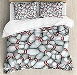 ボウリングパーティーデコレーション布団カバーセットby Ambesonne Vividボーリングピンの山、スキットルズレッドストライプ3dスタイル印刷、装飾寝具セットwithピロー、レッドとホワイト QUEEN / FULL nev_38140_queen