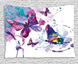 Purple Tapestry Butterflies Decorations by Ambesonne Watercolor Effect Illustration of Butterfly Art Modern Home Decor Bedroom Living Room Dorm Wall Hanging 80 X 60 Inches White Purple Blue【クリスマス】【ツリー】 [並行輸入品]