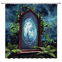 ファンタジーマジックポータルおとぎ話の夜景浴室の窓の装飾のための生地のホックが付いているポリエステル防水シャワー・カーテン60X72in
