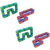 TOYANDONA 4pcs Wacky Track Sensory Fidget Toys Snap and Click Finger Sensory Toy Fidget Chain Toys Snake Puzzles for Kids Adu