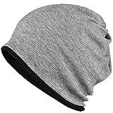 WOOSOO ニット帽 ネックウォーマー多機能 防寒 アウトドア ロールアップ ビーニー 両面使用 無地 男女兼用 タイプ2-ブラック&濃いグレー
