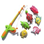 Sanwooden Interesting Toy Fishing Game Toy 7Pcs Magnetic Fishing Rod Fish Models Catching Game Interactive Kids Bath Toy...