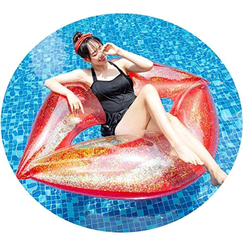 赤いスパンコール唇フローティング行ベッドスイミングリングPVCフローティング大人ローズゴールドサイズ:180 * 160 cm
