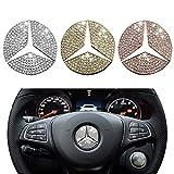 【Gold 45mm ベンツハンドルクリスタルエンブレム 】 Mercedes Benz メルセデス ベンツ アクセサリー インテ リア 成形 ハンドル エンブレム ロゴ ハンドル 高級でクラシックなデザイン A/B/C/E/S/CLA/GLA/GL/ML/GLE/GLC 外 [並行輸入品]