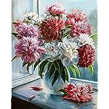 Diyの油絵子供のためのデジタル油絵大人初心者16x20インチ、窓越しの花--クリスマスの装飾ホームインテリアギフト (フレームなし)