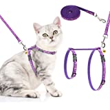 PAWCHIE Cat Harness and Leash Set - Adjustable Soft Escape Proof H-shped Safety Strap with Golden Moon and Star Pattern Glow