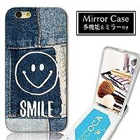 301-sanmaruichi- iPhone8 ケース iPhone7 ケース ミラーケース 鏡付き ミラー付き カード収納 おしゃれ ニコちゃん スマイル デニムプリント 星 B プリント ICカード iPhone6s 6 ケース