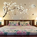 Amaonm Chinese Style White Flowers Black Tree and Flying Birds Wall Stickers Removable DIY Wall Art Decor Decals Murals for O