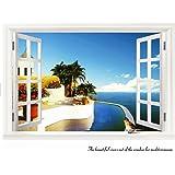 海 ポスター 窓 地中海の風景 ウォールステッカー wall sticker ウォールペーパー ウォールシール 60*90cm