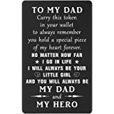 Dad Gifts Wallet Card from Daughter, I Will Always Be Your Little Girl, You Will Always Be My Hero, Birthday Wedding Christma