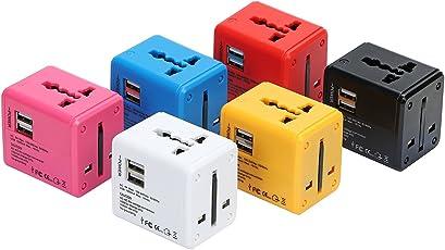 zeldner 海外 変換プラグ 2USB充電器付 コンセント 変換 スマホ充電 100-240V 200ヶ国以上対応 海外旅行 便利グッズ 海外マルチプラグ 便利グッズ マルチタイプ 変換アダプタ 電源プラグ