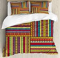 African布団カバーセットby Ambesonne、のセットEthnic BordersパターンOld Fashioned古代文化カラフルArtful印刷、装飾寝具セット枕のカバー、マルチカラー キング nev_36587_king