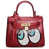 Kaichen 韓国の女性バッグ ファッション大きな目目愛斜めクロコダイル ショルダー バッグ ハンドバッグ バッグ (スカーレット)