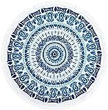 Sweet Passion タッセル 付き ラウンド ビーチ タオル 大判 150 サイズ ( A1535 ) レディース メンズ ユニセックス ( ブルー 青 )