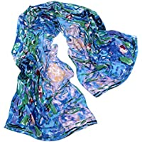 """TONY & CANDICE 100% Silk Luxurious Charmeuse Long Scarf Art Collection Shawl, 62"""" L*15.7"""" W"""