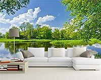 Mbwlkj 壁に緑の自然の風景の壁画壁の3D壁紙のソファは、部屋を飾るテレビの壁紙-250Cmx175Cm