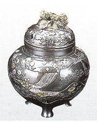 香炉 四季 蝋型青銅製 桐箱入 高さ10.2×幅9.2×奥行9.2cm