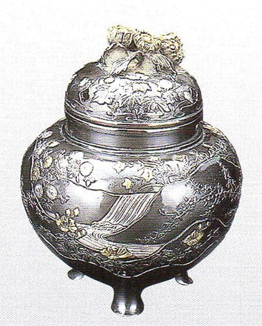 好奇心盛リングバック墓香炉 四季 蝋型青銅製 桐箱入 高さ10.2×幅9.2×奥行9.2cm