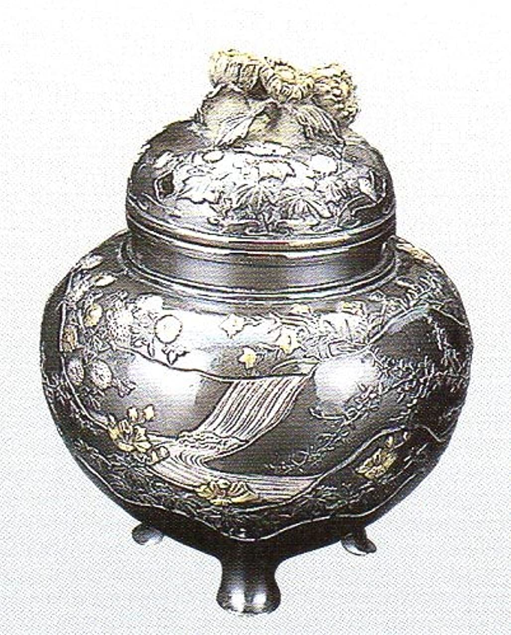 祝福けがをするカビ香炉 四季 蝋型青銅製 桐箱入 高さ10.2×幅9.2×奥行9.2cm