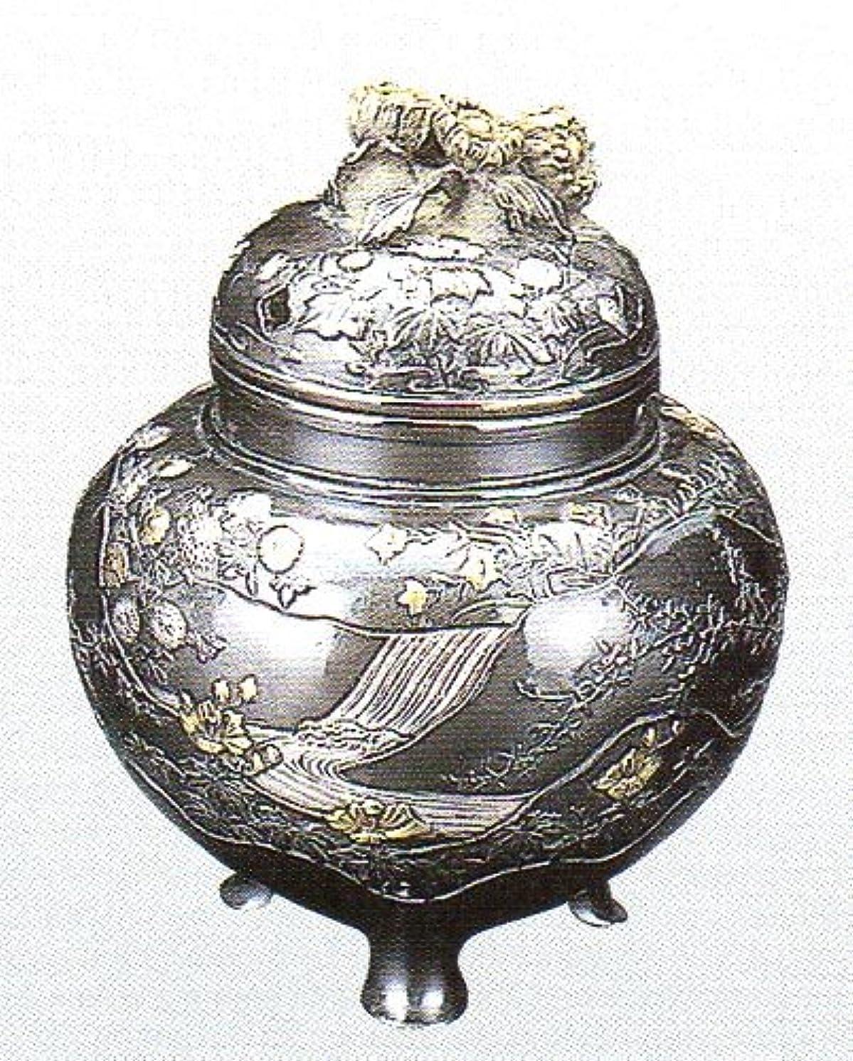 要塞やさしくデータベース香炉 四季 蝋型青銅製 桐箱入 高さ10.2×幅9.2×奥行9.2cm