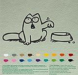 ボウルデカールステッカーサイモンビニールステッカー車の窓のiPadとサイモンの猫 黒 彼の左を指しています Simon's Cat 画像