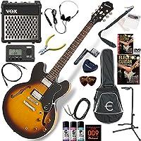 EPIPHONE エレキギター 初心者 入門 ギブソンES-335のエピフォン版 リズム機能とエフェクターを搭載したVOX MINI5RMが入ってる充実20点セット Dot/VS(ヴィンテージサンバースト)
