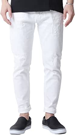 [ヌーディージーンズ] ストレッチ デニム パンツ メンズ ホワイト BRUTE KNUT Pitch White アンクルパンツ 29