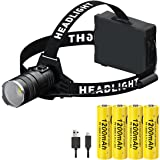 LED Rechargeable Headlamp Flashlight,20000 Lumens P70 High Lumen Waterproof Headlamps with 4PCS 3.7V 1200mAh Rechargeable 186