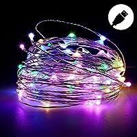 (BARVAX) LEDライト イルミネーションライト USB 10M 100球LED 防水 モバイル USB充電式 DC5V 1A/2A【電球色 昼白色 多彩カラー 】クリスマス ツリー 飾り 屋外、室内の飾り ハイキング キャンプ ファッションショー (10m, 多彩カラー)