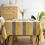 Lamberia Cotton Linen Tablecloths for Rectangle Tables Heavyweight Burlap Table Cover for Kitchen Dinning Tabletop Decoration