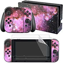 eXtremeRate Full Set Faceplate Skin Decal Stickers for Nintendo Switch with 2Pcs Screen Protector (Console & Joy-con & Dock & Grip) (Purple Galaxy)