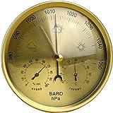OUNONA 地学・気象 アネロイド式 気圧計 温度湿度計 精密 ステンレス 掛け アナログ 天気予報 警報 屋内・屋外用 (黄色)