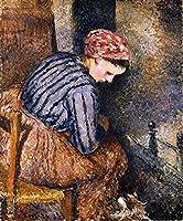 ¥5K-200k 手書き-キャンバスの油絵 - 美術大学の先生直筆 - 14 名画 - peasant 女性 warming herself 1883 Pissarro カミーユ・ピサロ - 絵画 洋画 手描複製画 -06